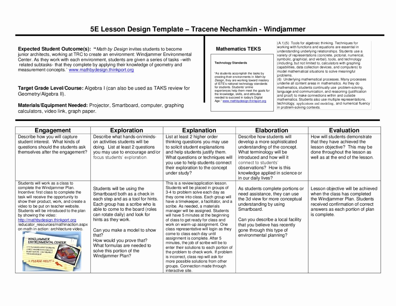 5e Lesson Plan Template Lovely 5e Lesson Plan Windjammer by Wylie East High School issuu