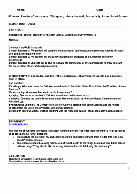 5e Lesson Plan Template Lovely top 6 5e Lesson Plan Templates Free to In Pdf format