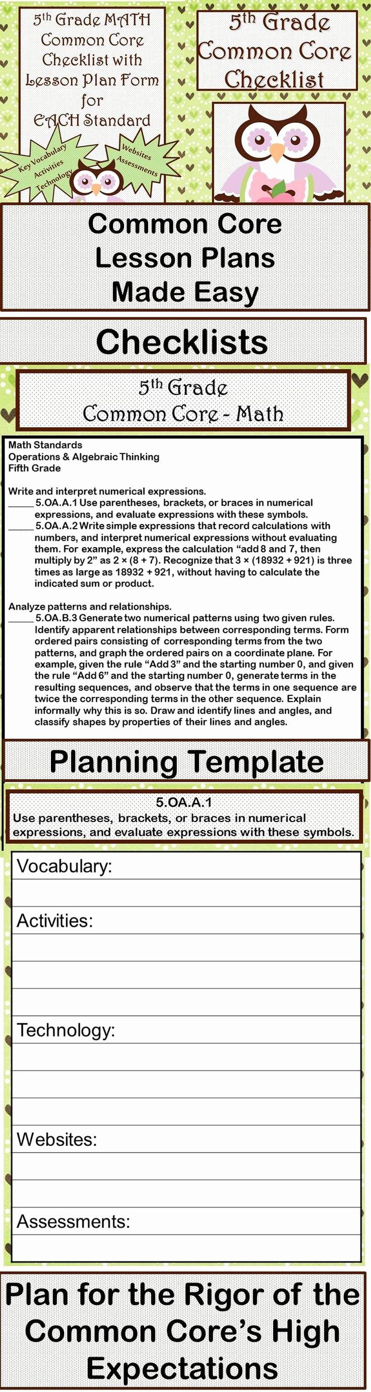 5th Grade Lesson Plan Template Best Of 5th Grade Mon Core Standards Lesson Plans Mon Core