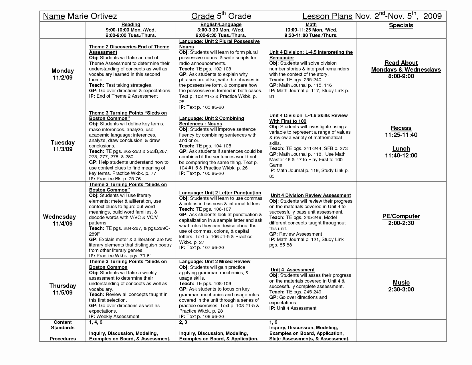 5th Grade Lesson Plan Template Inspirational Lesson Plan 5th Grade Daily Lesson Plan Templateratliff