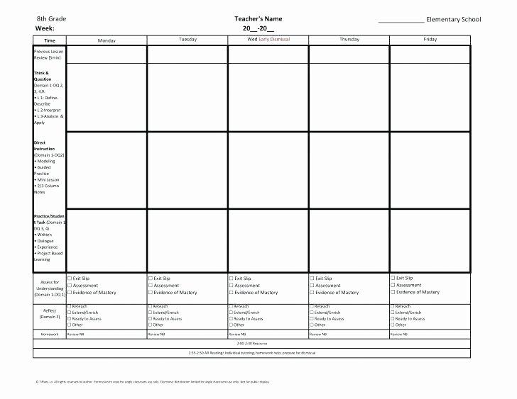 5th Grade Lesson Plan Template Luxury 5th Grade Lesson Plan Template Mon Core Math Lesson