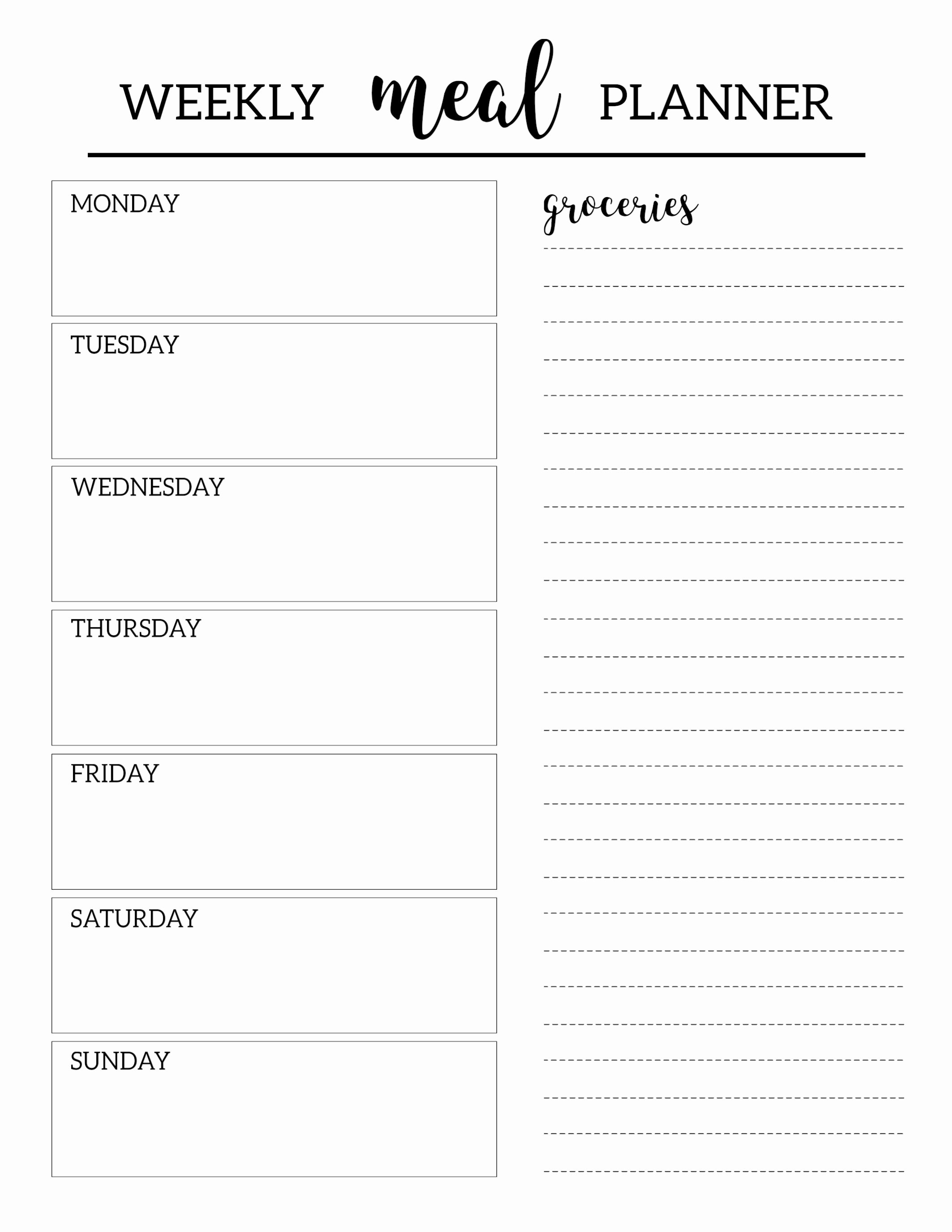7 Day Meal Plan Template Awesome Free Printable Meal Planner Template Paper Trail Design