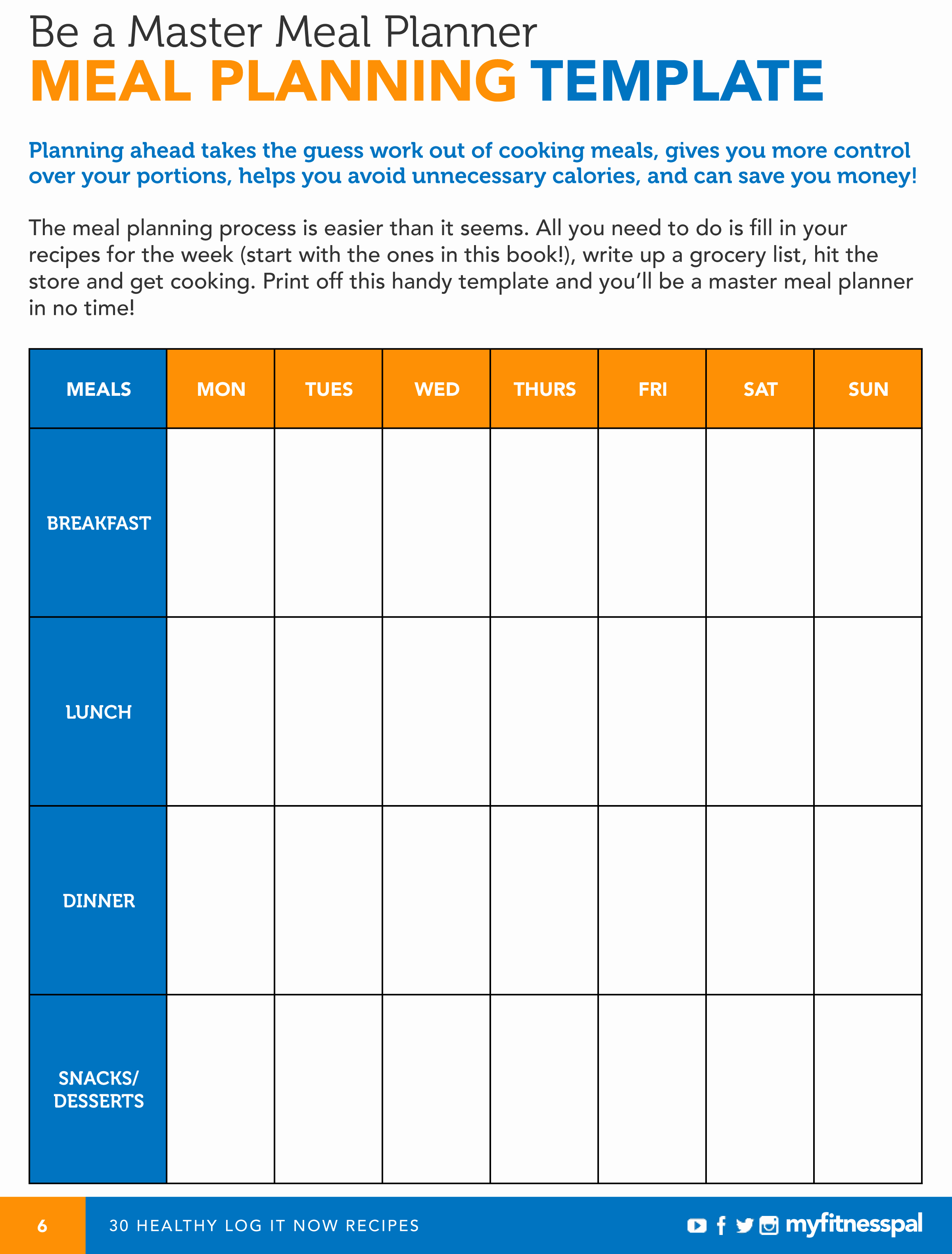 7 Day Meal Plan Template Best Of Meal Planning Template