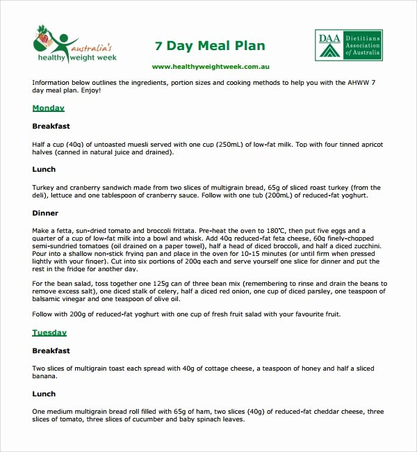 7 Day Meal Plan Template Inspirational 10 Diet Plan Templates