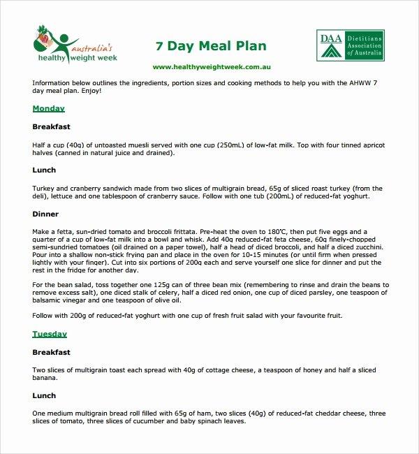 7 Day Meal Plan Template Inspirational 10 Diet Plan Templates