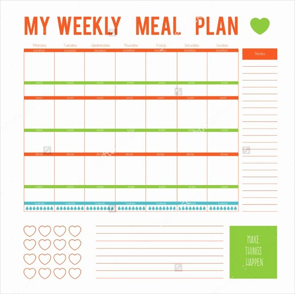 7 Day Meal Plan Template Inspirational Meal Planner Template