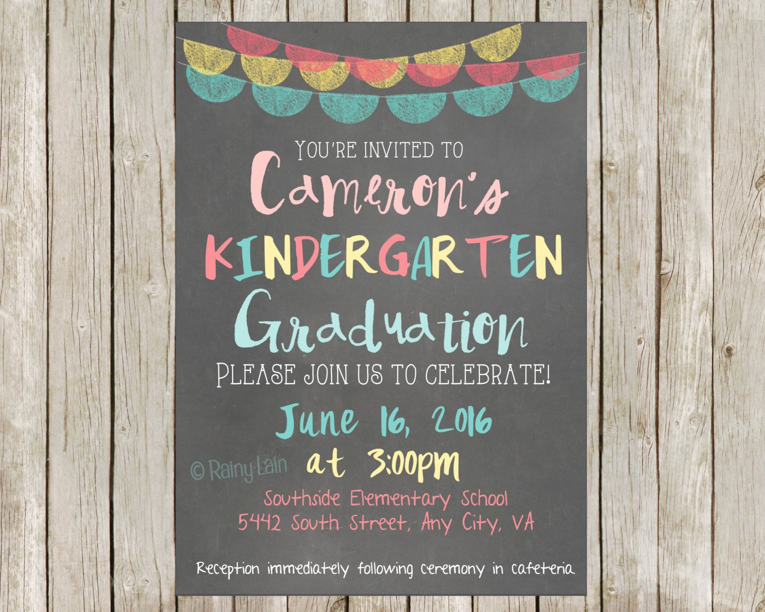 8th Grade Graduation Program Template Elegant Kindergarten Graduation Party Printable by Rainylaindesigns