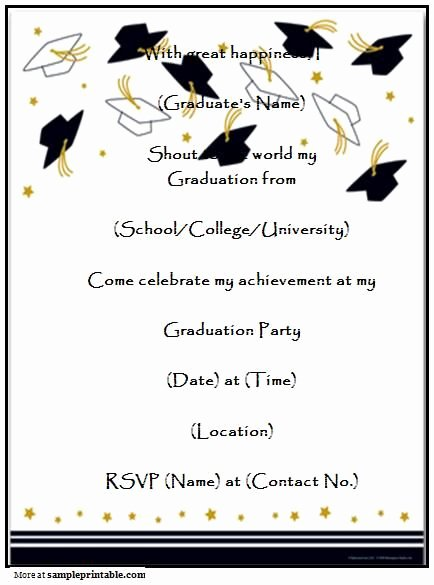 8th Grade Graduation Program Template Luxury Graduation Party Invitation Templates Free Printable