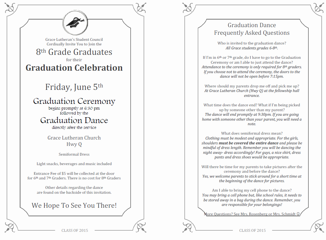 8th Grade Graduation Program Template New 2014 2015 Eighth Grade Graduation Grace Lutheran School
