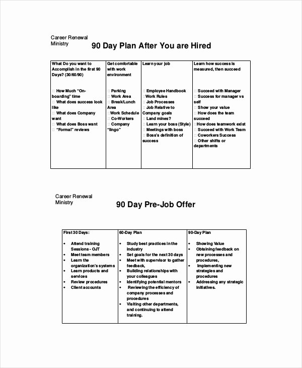 90 Day Action Plan Template Beautiful 18 Examples Of 30 60 90 Day Plans Word Pdf
