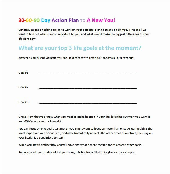90 Day Business Plan Template Awesome 7 Sample 30 60 90 Day Action Plan Templates