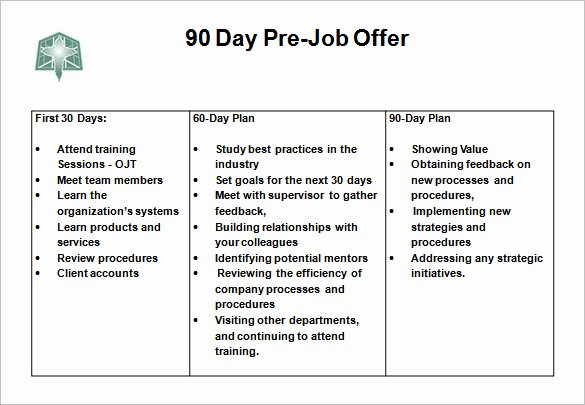 90 Day Business Plan Template New 12 30 60 90 Day Action Plan Templates Doc Pdf