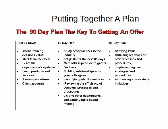 90 Day Plan Template Luxury 90 Day Plan Template