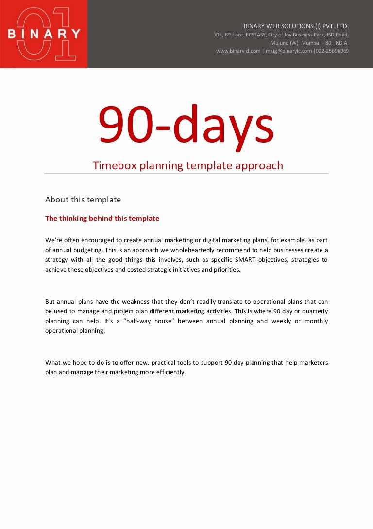 90 Day Sales Plan Template New 90 Day Planning Template Approach