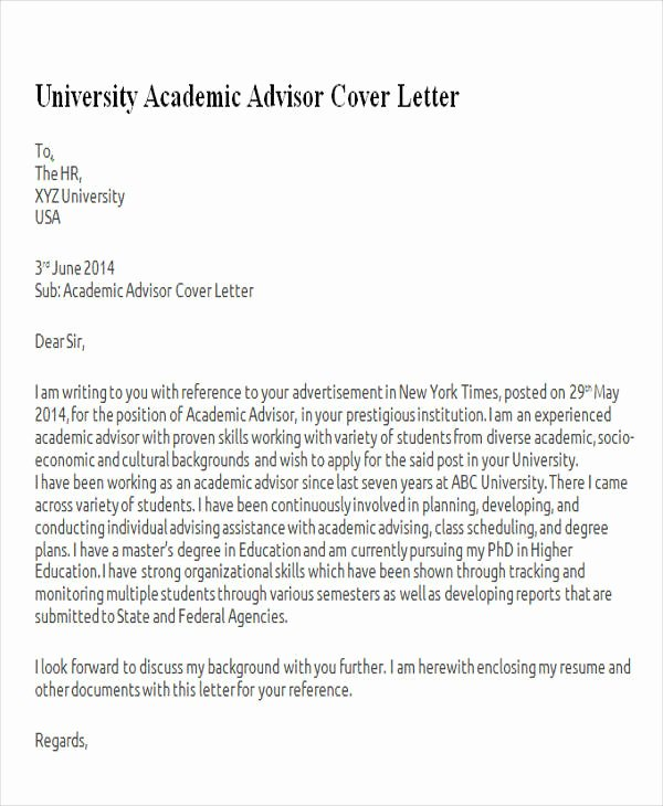 Academic Cover Letter format Awesome 6 Sample Academic Advisor Cover Letters