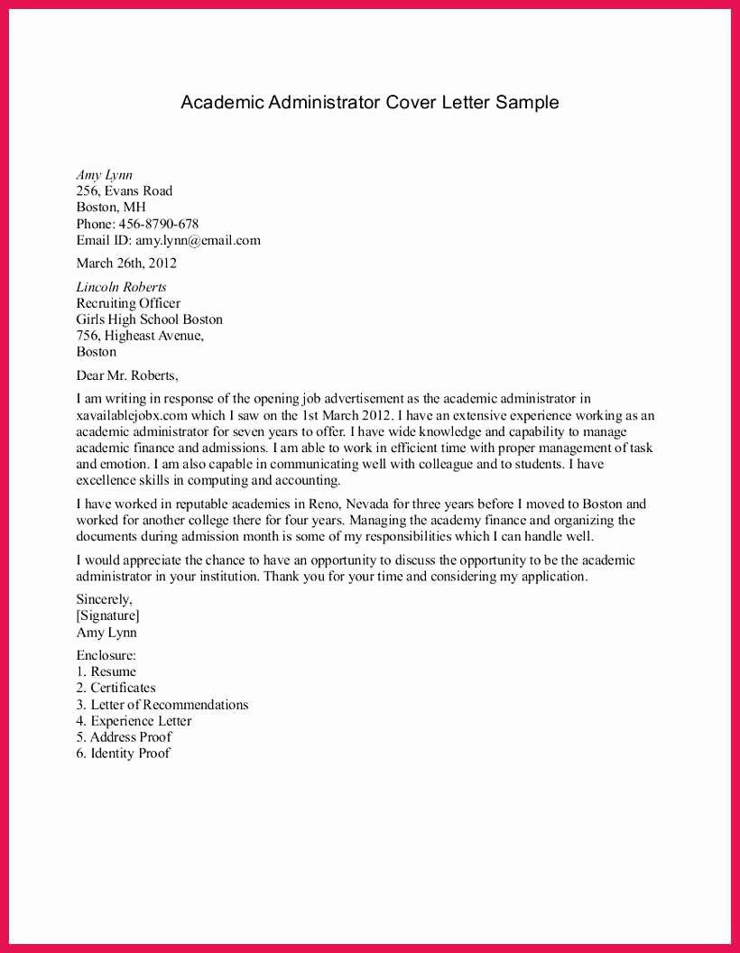 Academic Cover Letter format Lovely Academic Cover Letter Sample