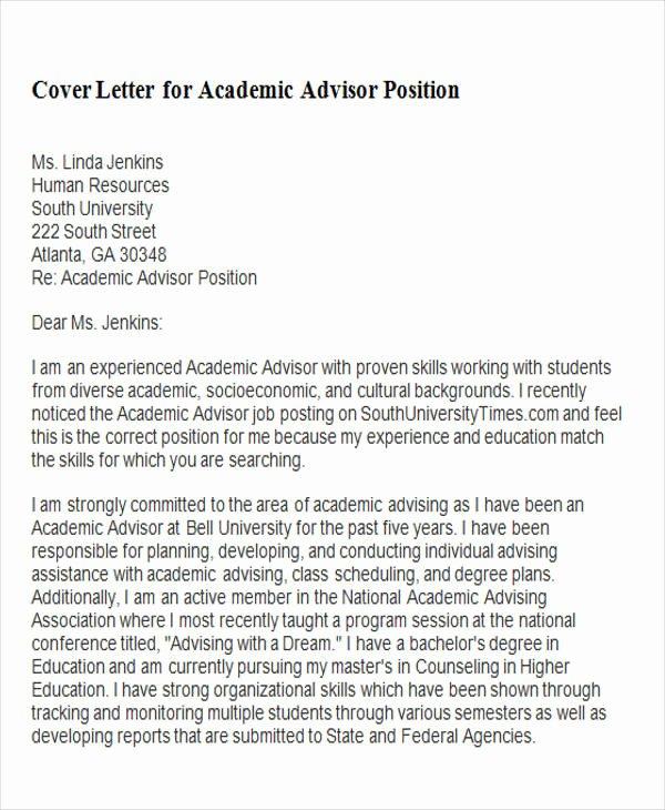 Academic Cover Letter format New 6 Sample Academic Advisor Cover Letters