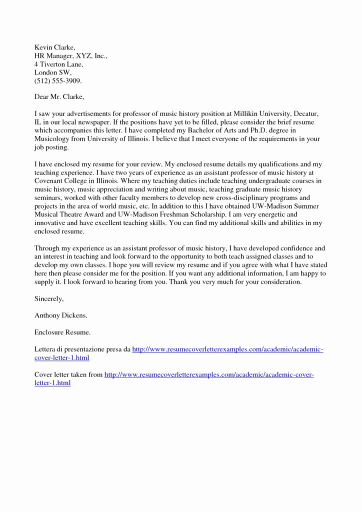 Academic Cover Letter format Unique Academic Cover Letter Sample