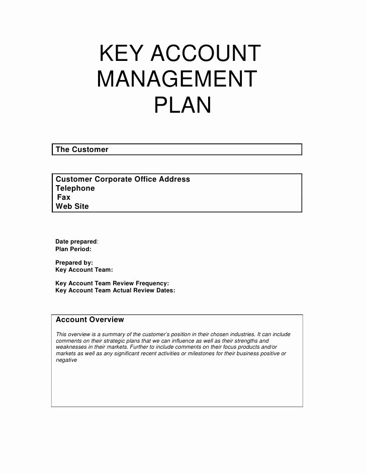 Account Management Plan Template Elegant Key Account Management Plan