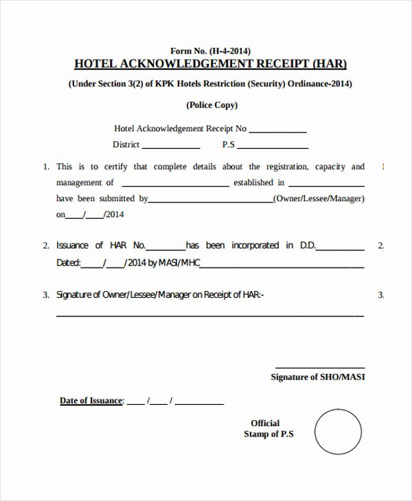 Acknowledgement Of Receipt form Template Beautiful Acknowledgement Receipt Templates 9 Free Word Pdf