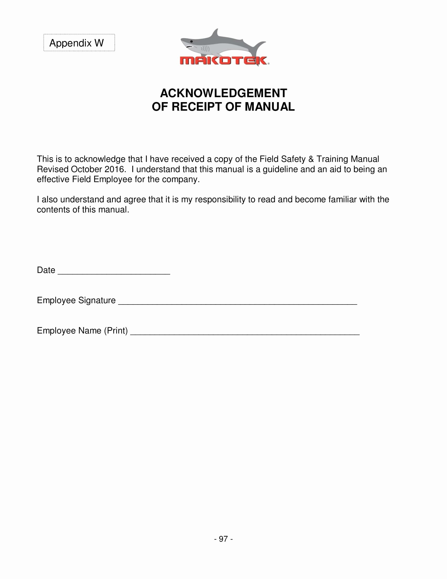 Acknowledgement Of Receipt form Template Best Of 4 Employee Manual Acknowledgment forms Word Pdf