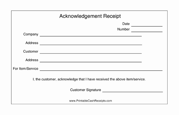 Acknowledgement Of Receipt form Template Best Of these Acknowledgement Receipts are Basic Templates that