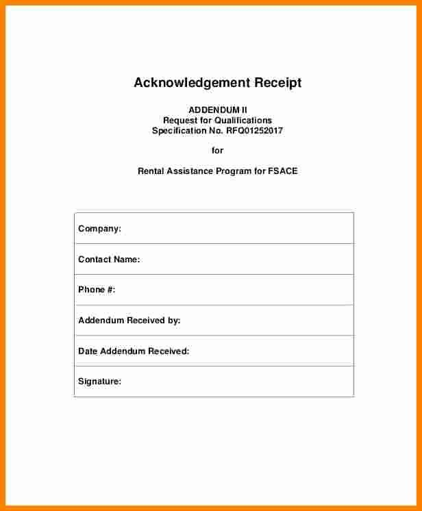 Acknowledgement Of Receipt form Template Elegant 7 Acknowledgement Receipt Of Payment Template