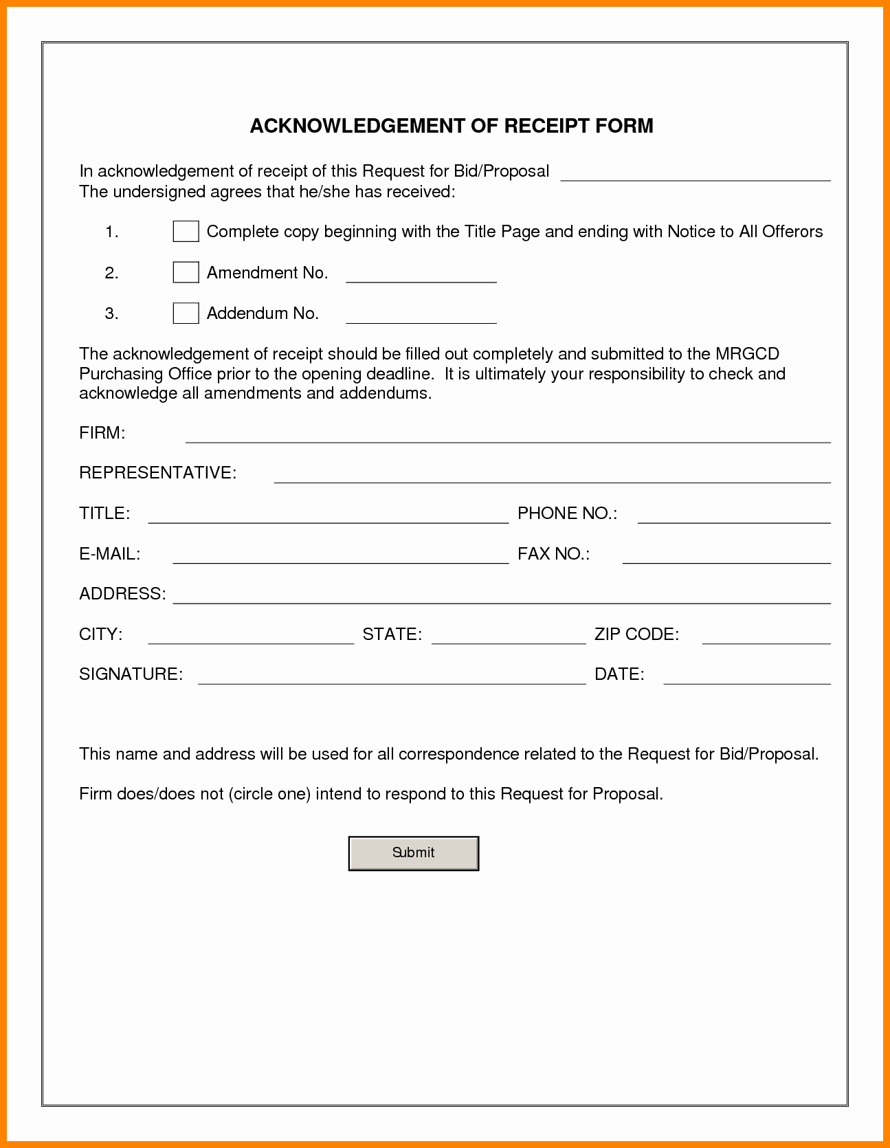 Acknowledgement Of Receipt form Template Fresh Outstanding Receipt Document S Simple Resume