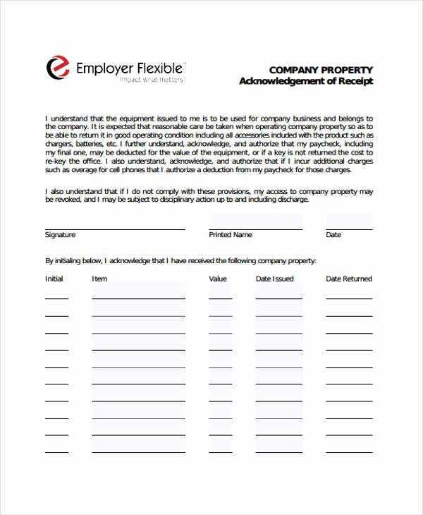 Acknowledgement Of Receipt form Template Unique Acknowledgement Receipt Templates 9 Free Word Pdf