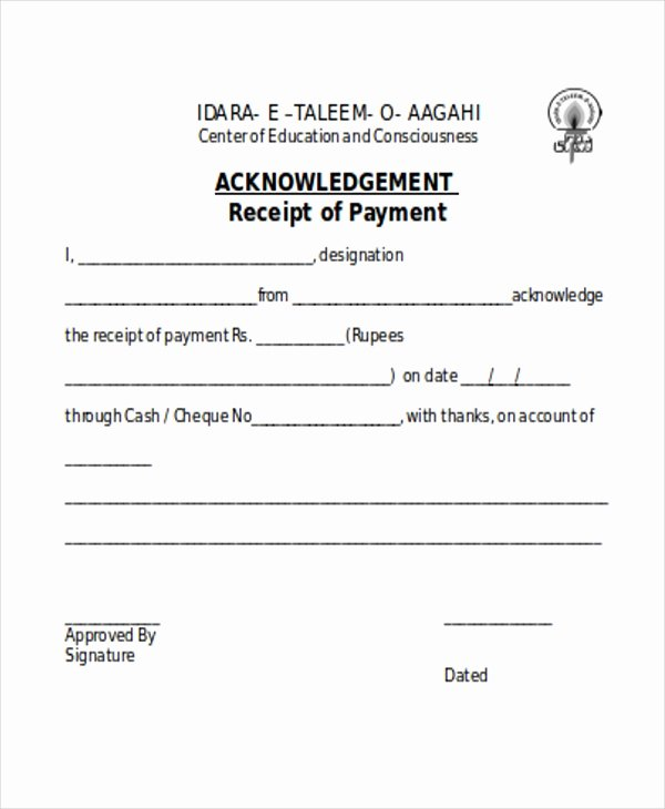 Acknowledgement Receipt Of Payment Best Of 7 Payment Receipt forms