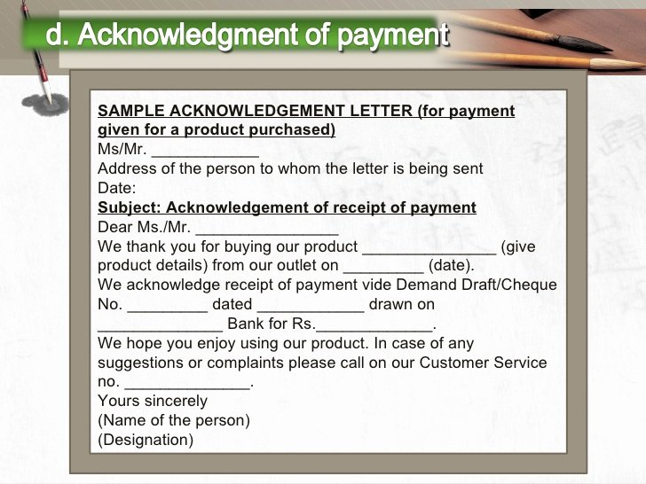 Acknowledgement Receipt Of Payment Fresh Writing Payment