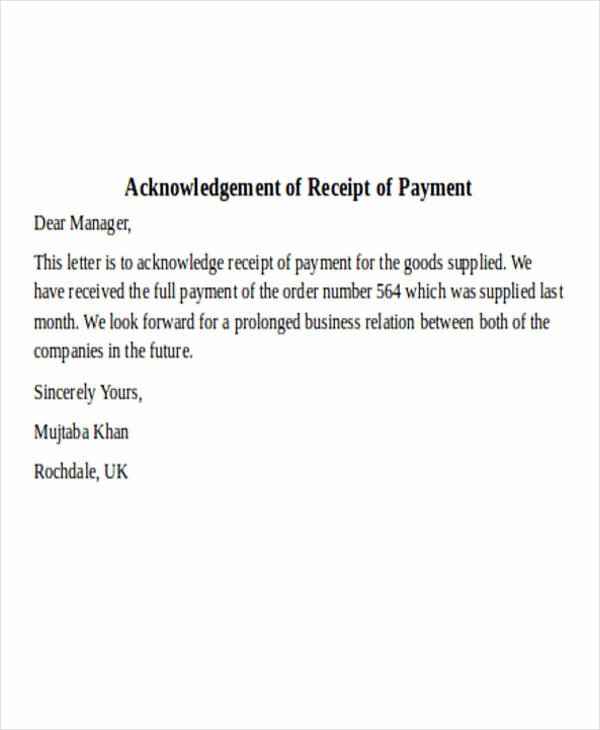 Acknowledgement Receipt Of Payment Luxury 36 Payment Letter formats
