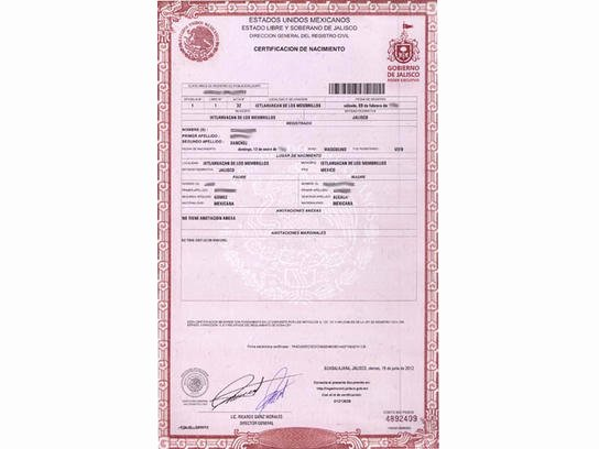 Acta Inextensa De Nacimiento English Translation Lovely Birth Marriage Death Certificates Jalisco todo