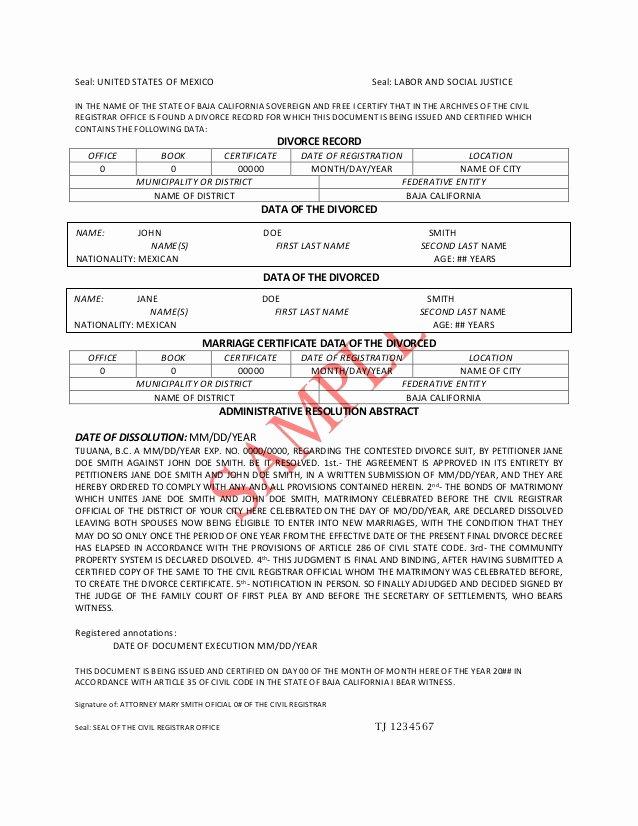 Acta Inextensa De Nacimiento English Translation Lovely Divorce Decree Translation Pdf