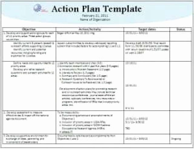 Action Plan Template Excel Awesome 6 Freeaction Plan Templates Excel Pdf formats