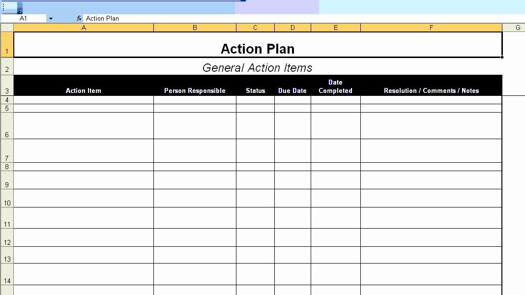 Action Plan Template Excel Elegant Excellent Action Plan Template Example In Ms Excel format