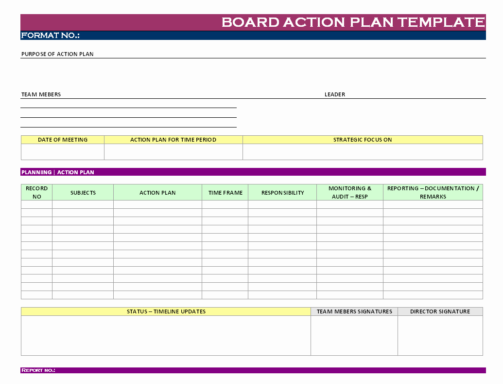 Action Plan Template Excel Unique Action Plan form Excel Board Template Report Sample Word