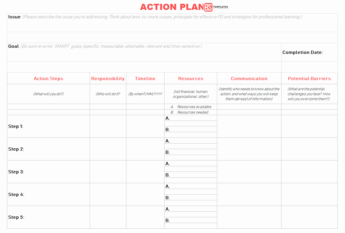Action Plan Template Excel Unique Action Plan Templates – Free Templates [word