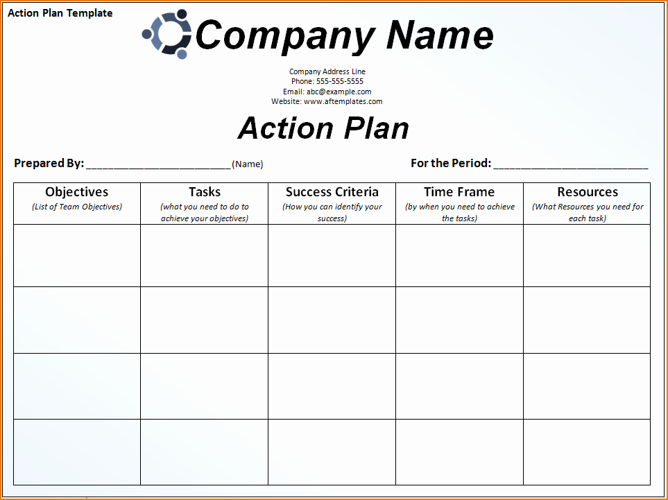 Action Plan Template for Employee Awesome 6 Sample Action Plan Template