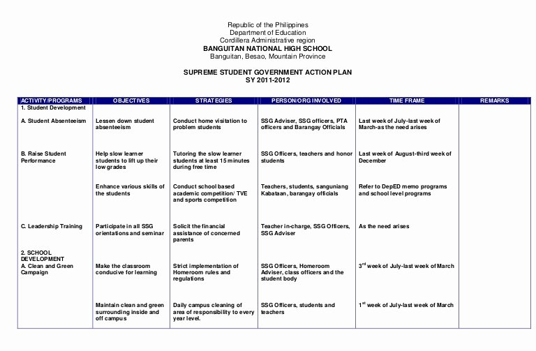 Action Plan Template for Students Beautiful Action Plan Ssg