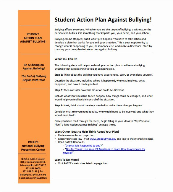 Action Plan Template for Students Fresh 6 Sample Student Action Plans