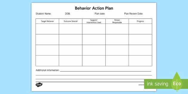Action Plan Template for Students Inspirational Behavior Action Plan form Behavior Intervention Plan