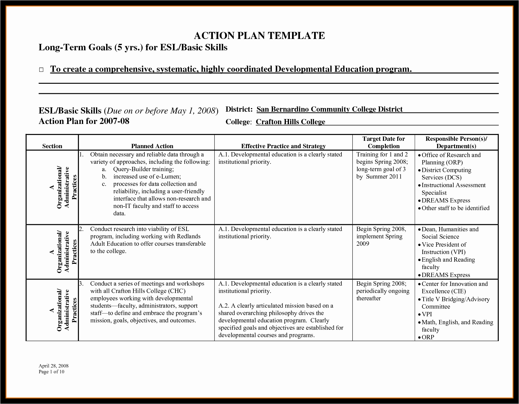 Action Plan Template for Students New Business Action Plan Template Mughals