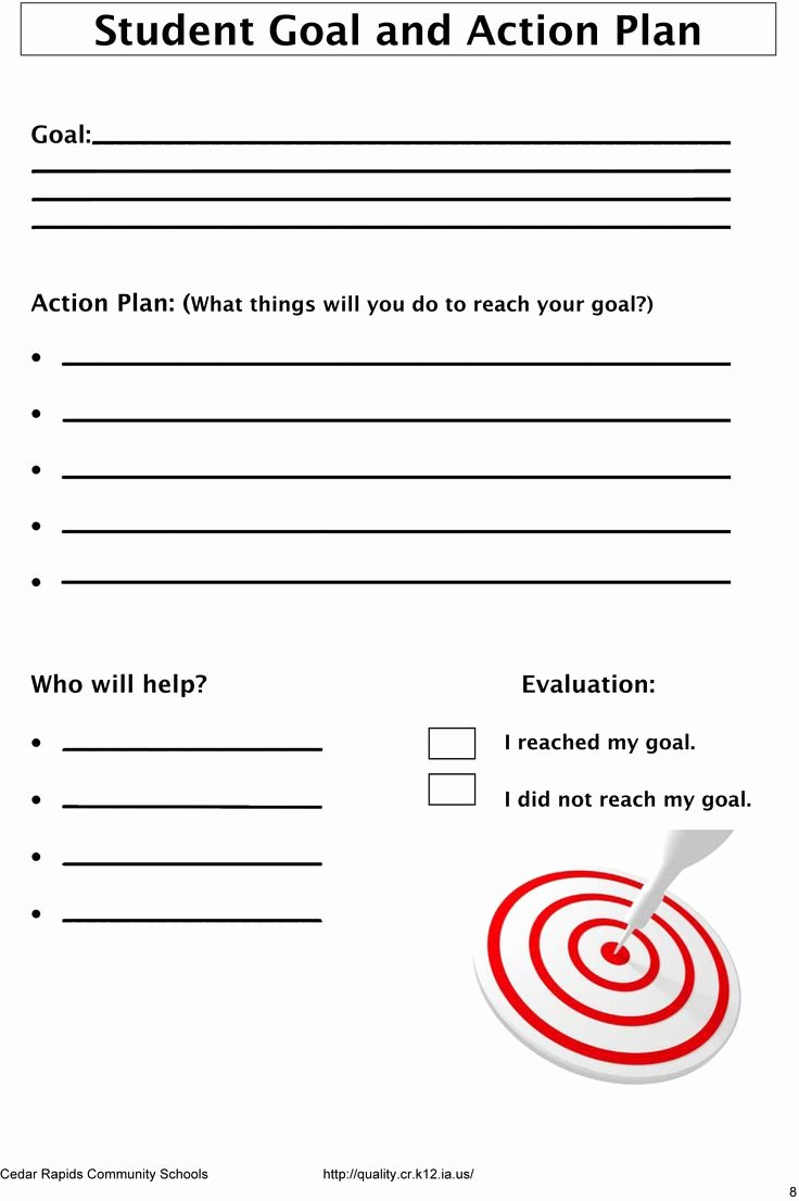 Action Plan Template for Students Unique Student Goals