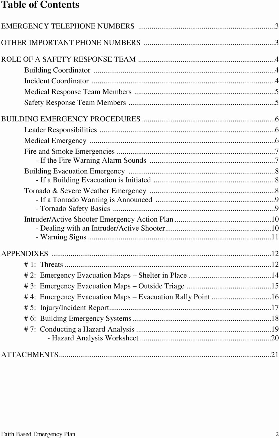 Active Shooter Response Plan Template Awesome Emergency Plan Template for Faith Based organizations Pdf