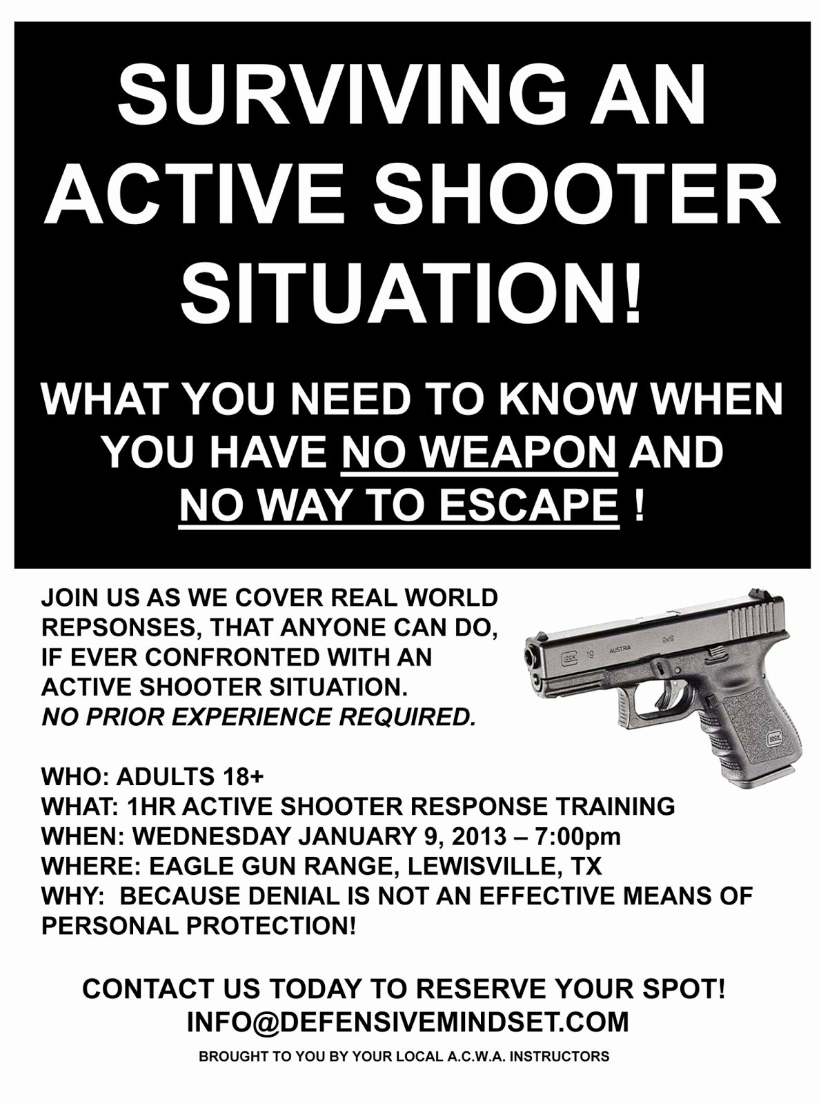 Active Shooter Response Plan Template Unique Defensive Mindset Active Shooter Response