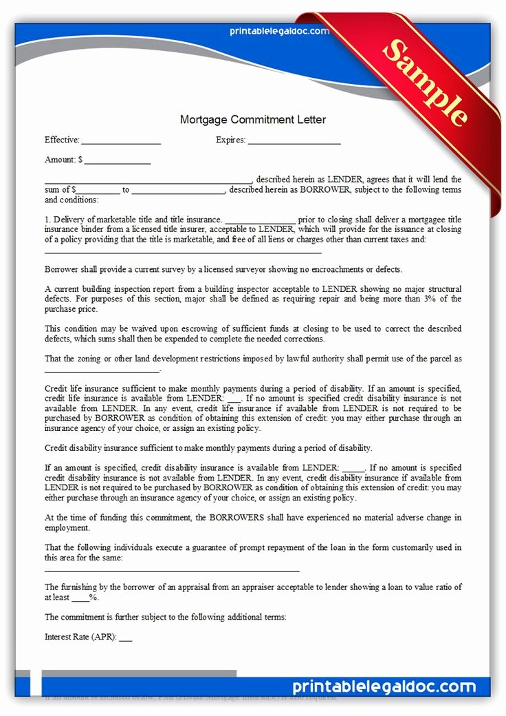 Ada Transition Plan Template Elegant Free Printable Mortgage Mitment Letter Legal forms