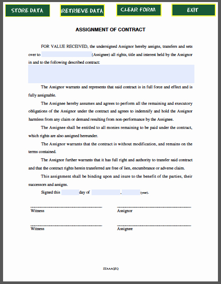 Affidavit Of assignment Awesome assignment Of Contract Free Fillable Pdf forms