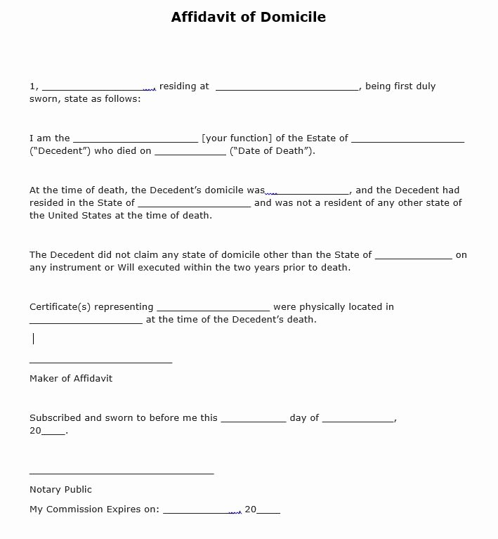 Affidavit Of assignment Awesome Free Affidavit Of Domicile form Pdf Template