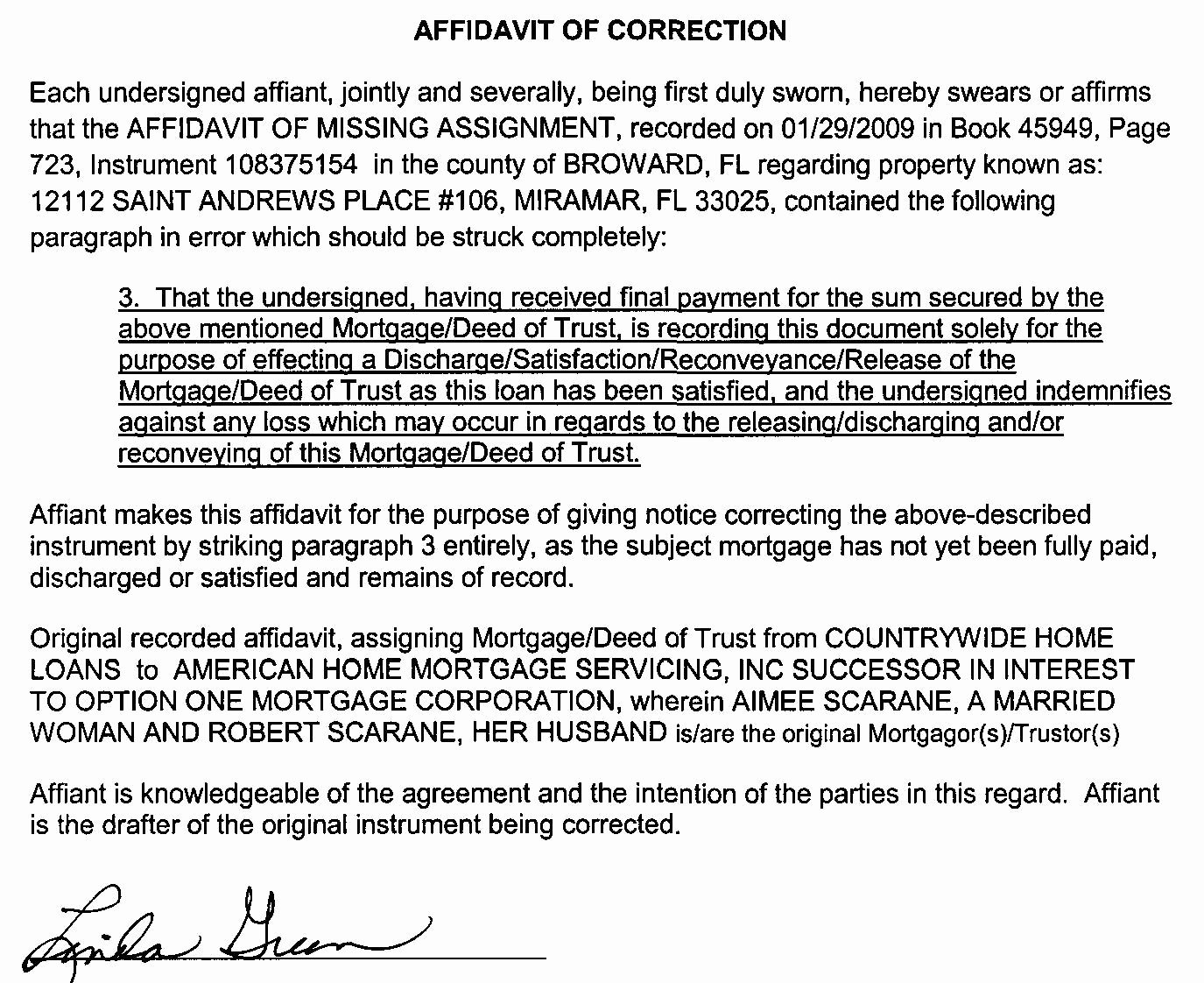 Affidavit Of assignment Awesome Under attack